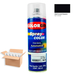 Tinta-Spray-Automotiva-Colorgin-Preto-Semi-Brilho-300mL-12Un