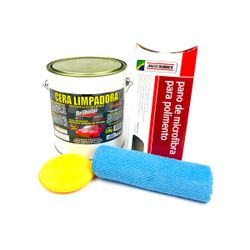 Kit-Cera-Limpadora-Brilholac-35Kg---Pano-de-Microfibra-Maxi-Rubber---Aplicador-Manual-Meguiars